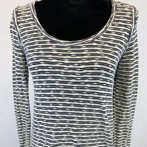 LUCY & LAUREL BLACK/WHITE STRIPED TUNIC SWEATER XS